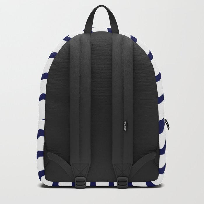 Maritime pattern- dark blue waves lines ond white  background Backpack