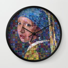 "I ""Heart"" Girl With A Pearl Earring Wall Clock"
