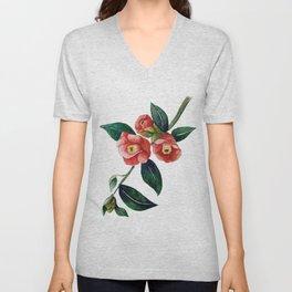 Vintage red watercolor flower botanical illustration Unisex V-Neck