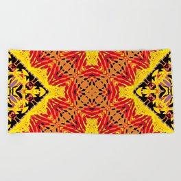 ethnic cross red Beach Towel