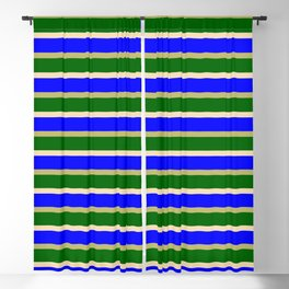 Eyecatching Tan, Blue, Dark Khaki & Dark Green Lines Pattern Blackout Curtain