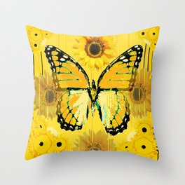ABSTRACT BUTTER COLORED YELLOW BUTTERFLY FLORA Throw Pillow