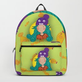 Monster Hat Fisher Girl | Colorful, Turquoise Hair Cartoon Backpack