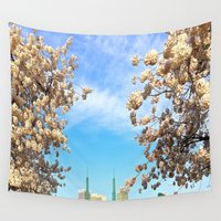 portland Wall Tapestries featuring Portland Hanami by Casey J. Newman