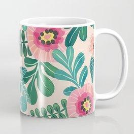 Colorful Tropical Vintage Flowers Abstract Coffee Mug