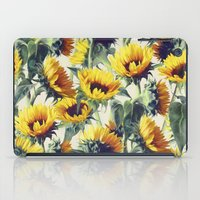 grey iPad Cases featuring Sunflowers Forever by micklyn
