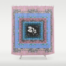 Flirty Boho Floral Iris Peace Quilt Shower Curtain