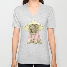 Shar Pei on the Great Wall (China) Unisex V-Neck