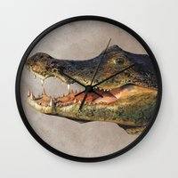 crocodile Wall Clocks featuring Crocodile by Anna Milousheva