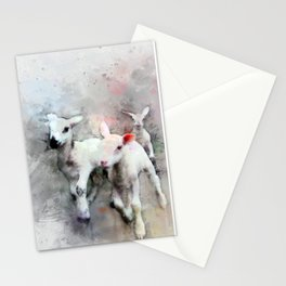 Three pet lambs watercolor Stationery Cards