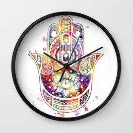 Hamsa Hand 2 Watercolor Poster Wedding Gift Wall Clock