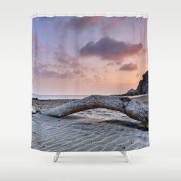 Half Moon Beach. Red sky Shower Curtain