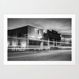 Downtown Springdale Arkansas Skyline - Black and White Art Print