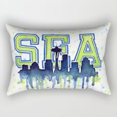 Seattle 12th Man Art Watercolor Space Needle Painting Rectangular Pillow