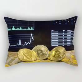 Bitcoin trio circuit market charts clean Rectangular Pillow