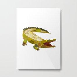 Alligator Crocodile Gaping Mouth Low Polygon Metal Print