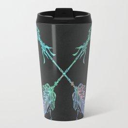 Tribals Arrows Turquoise on Gray Black Travel Mug