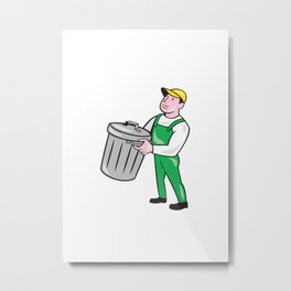 Garbage Collector Carrying Bin Cartoon Metal Print