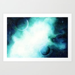 WaterColor Space by hand Art Print