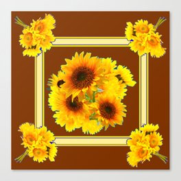 CHOCOLATE BROWN YELLOW SUNFLOWER BOUQUETS Canvas Print