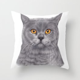 British shorthair colored pencil drawing Throw Pillow