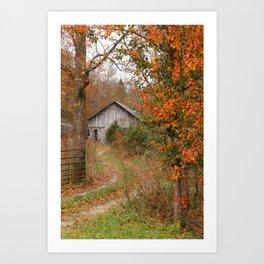 Country farm in Autumn Art Print