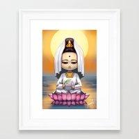 budi satria kwan Framed Art Prints featuring Kwan Yin  by Lurraeh Somohano