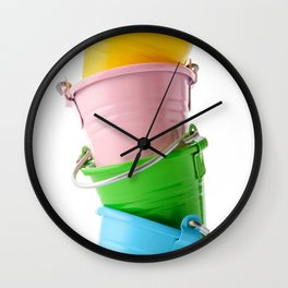 Colorful buckets, stacked vertically Wall Clock