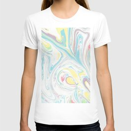 Hand painted abstract green yellow pink teal watercolor marble T-shirt