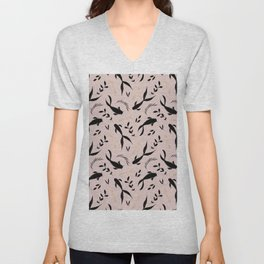Pastel pink black gold watercolor koi fish leaves pattern Unisex V-Neck