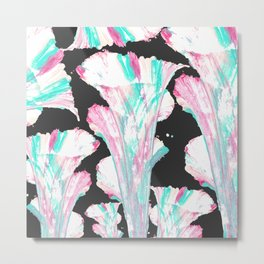 Artsy Girly Neon Pink Teal Abstract Painted Flower Metal Print