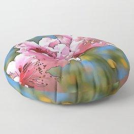Close Up Peach Tree Blossom Black Outline Art Floor Pillow