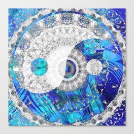 Blue And White Art - Yin And Yang Symbols - Sharon Cummings Canvas Print