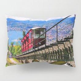 Lugano, Switzerland Funicular - Cable Car Lakeside photograph Pillow Sham