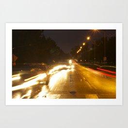 Cars at Night Art Print