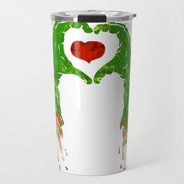 zombie hand making heart Travel Mug