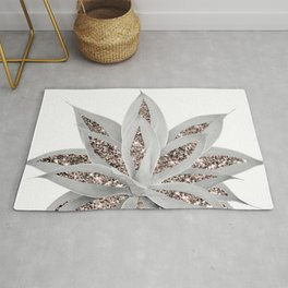Gray Agave with Rose Gold Glitter #3 #shiny #tropical #decor #art #society6 Rug