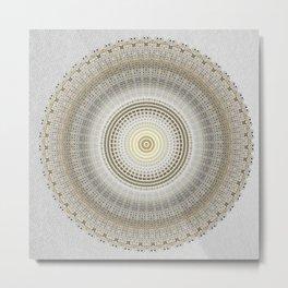 Silver Grey Paper with Gold Mandala Metal Print