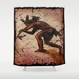Kokopelli, The Flute Player Fresco Wall Art Shower Curtain
