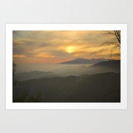 Sunset Over Mountains Art Print