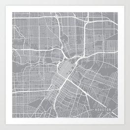 Houston Map, Texas USA - Pewter Art Print