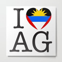 I Love Antigua and Barbuda Metal Print