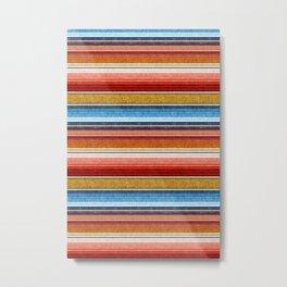 serape southwest stripe - red, blue, gold Metal Print