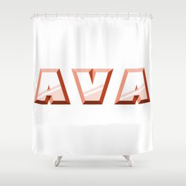 """""""AVA"""" first name red pattern Shower Curtain"""