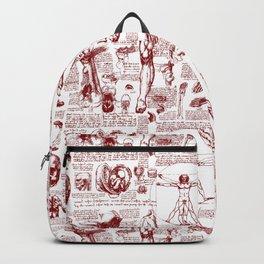 Da Vinci's Anatomy Sketchbook // Dark Red Backpack