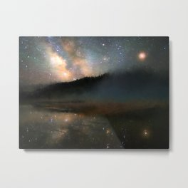 Milky Way Over Yellowstone Metal Print