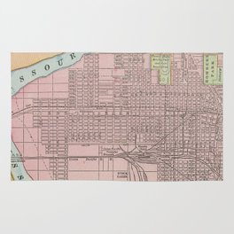 Vintage Map of Council Bluffs IA (1901) Rug