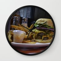 fries Wall Clocks featuring Burger & Fries by OneMan Photography