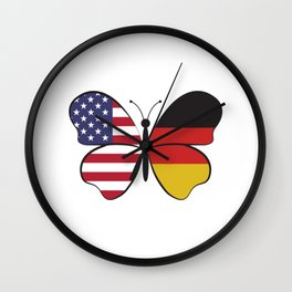 USA Germany Butterfly - Dual Citizenship Wall Clock