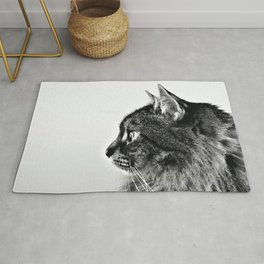 Black and White Fluffy Cat Minimalist Profile Rug